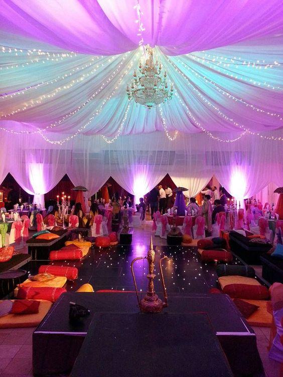 Decoración con telas y luces en el techo