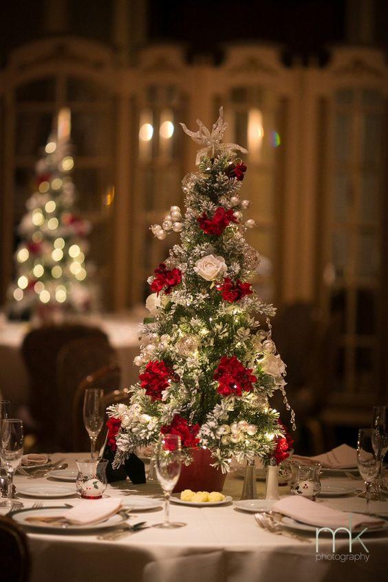 Centro de mesa con tema de navidad para xv años