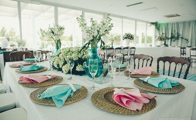 Centros de mesa azul para fiesta de quince años
