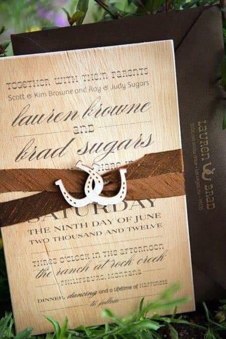Invitación con tema vaquero para boda