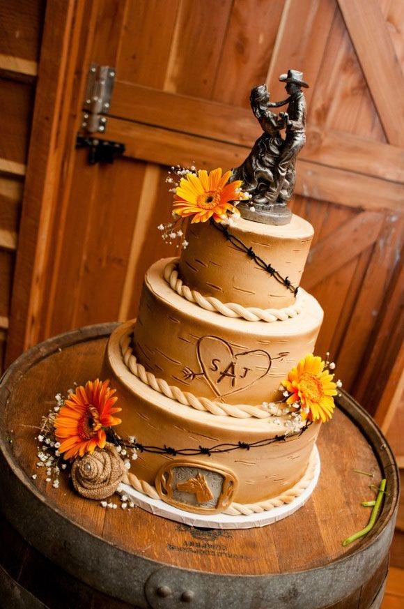 Pastel con temática vaquera para boda