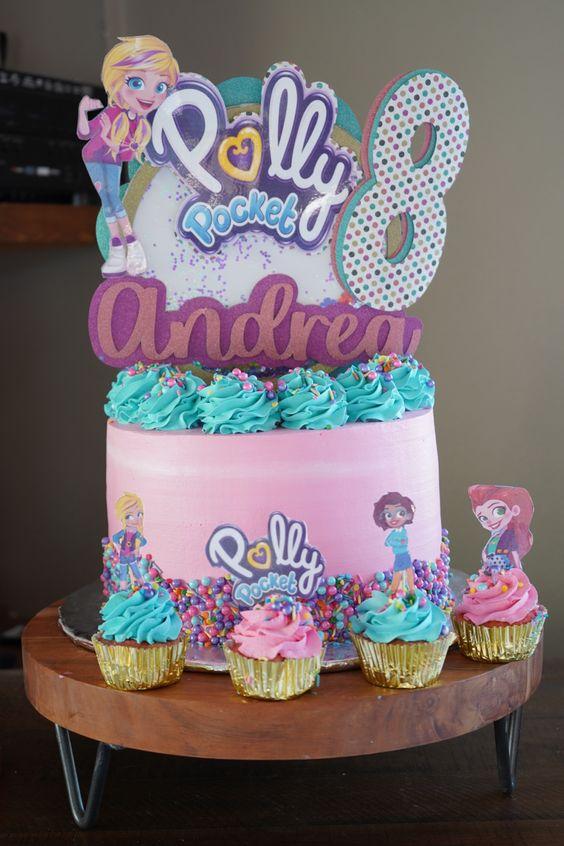 Diseños de pastel para fiesta de polly pocket