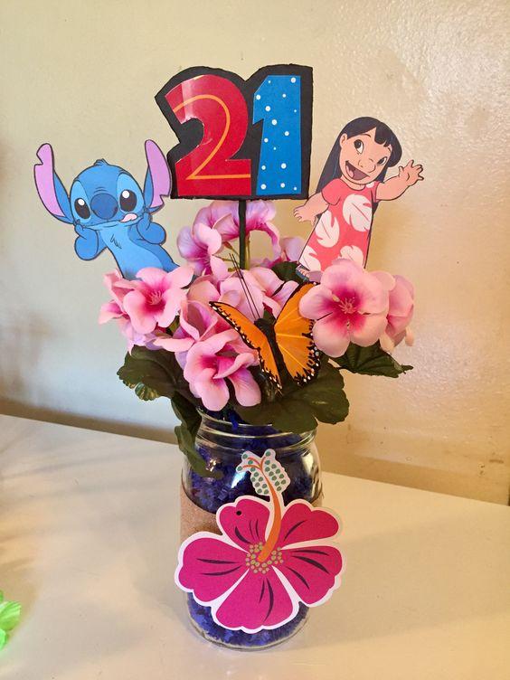 Centros de mesa para fiesta de lilo y stitch