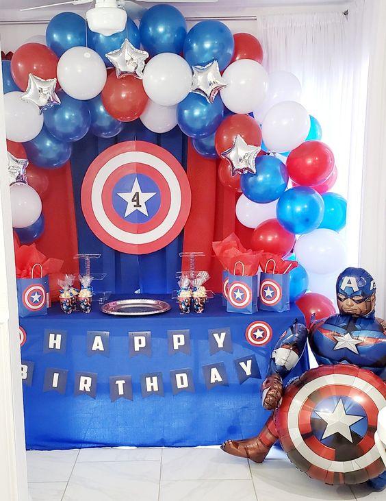 Decoración para fiesta de Capitán américa
