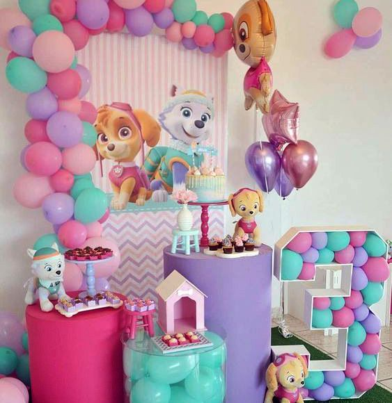 Decoración para fiesta de paw patrol para niña