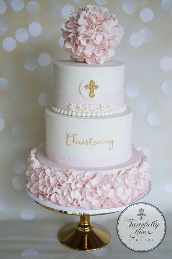 Diseños de pasteles para bautizo de niña