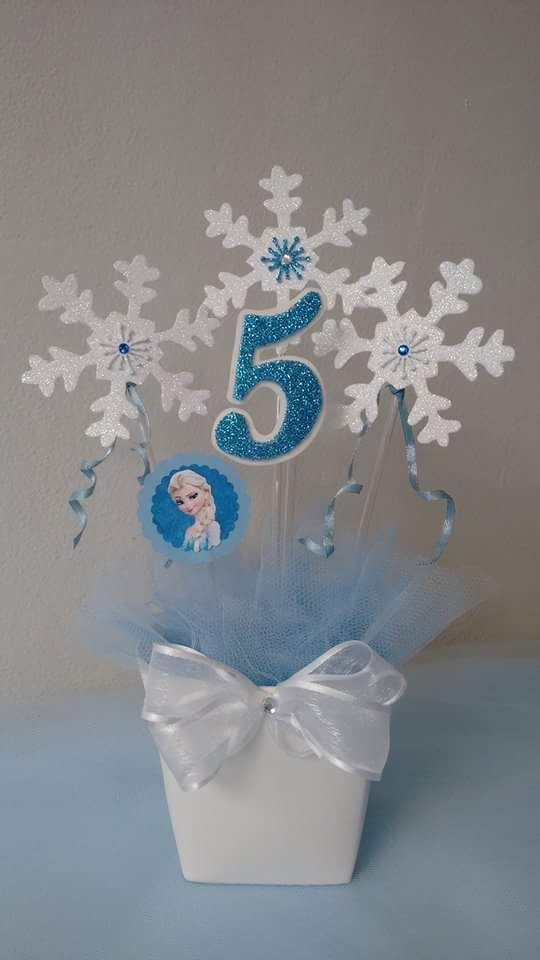 Ideas de centros de mesa para fiesta de frozen