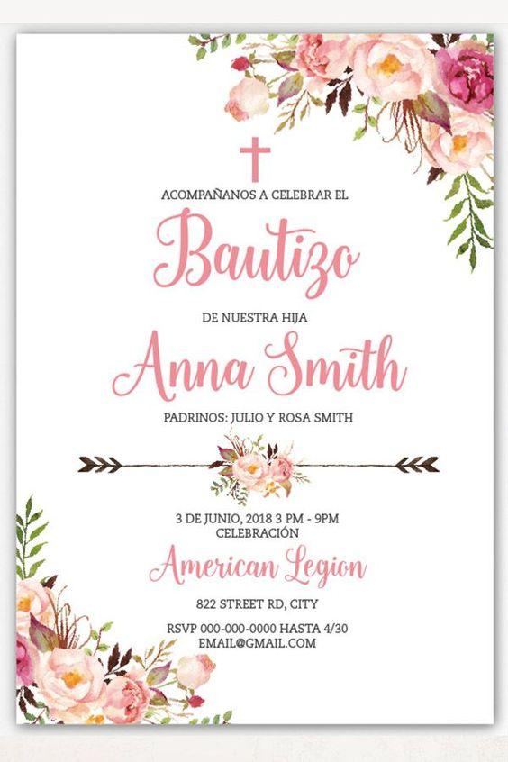 Invitaciones para bautizo de niña