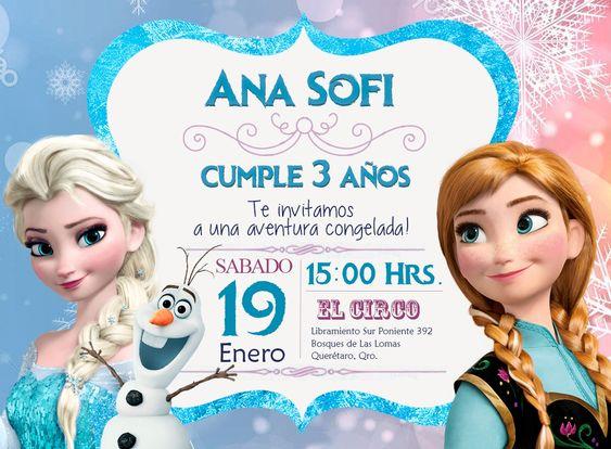 Invitaciones para fiesta de frozen