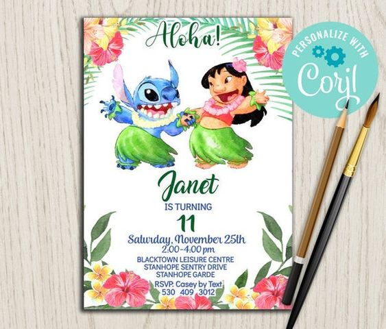 Invitaciones para fiesta de lilo y stitch