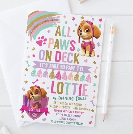 Invitaciones para fiesta de paw patrol para niña