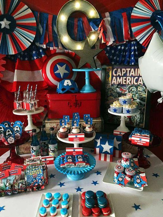 Mesas de postres de capitán américa