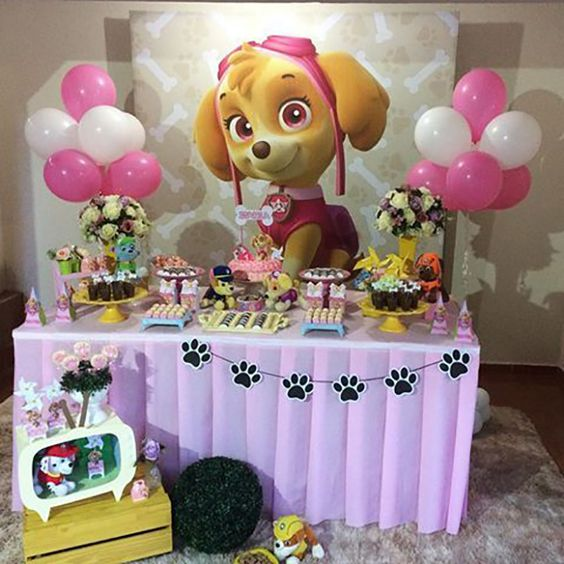 Mesas de postres para fiesta infantil de paw patrol para niña