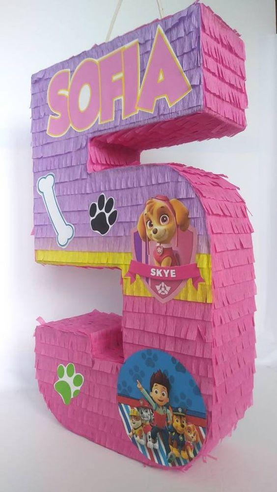 Piñatas para fiesta de paw patrol para niña