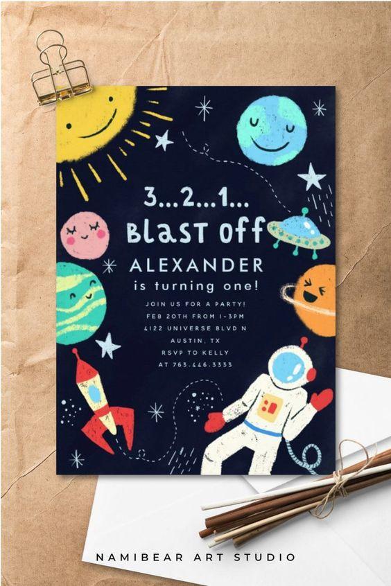 Invitaciones para piñata de astronautas