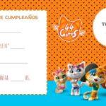 Invitaciones para una fiesta temática de 44 gatos