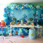 Mesas de postres para fiesta de Luca