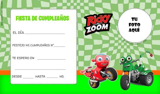 Invitaciones para fiesta de Ricky Zoom