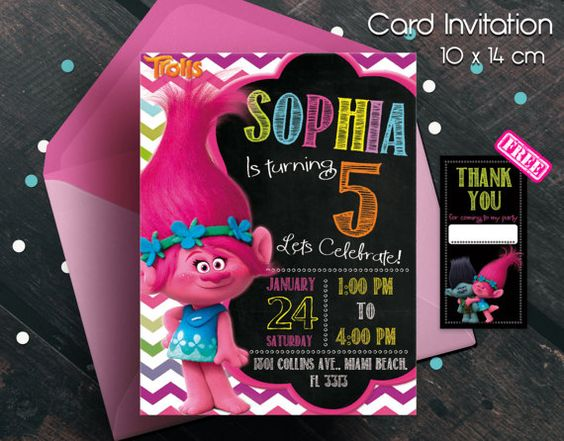 Invitaciones para fiesta de trolls