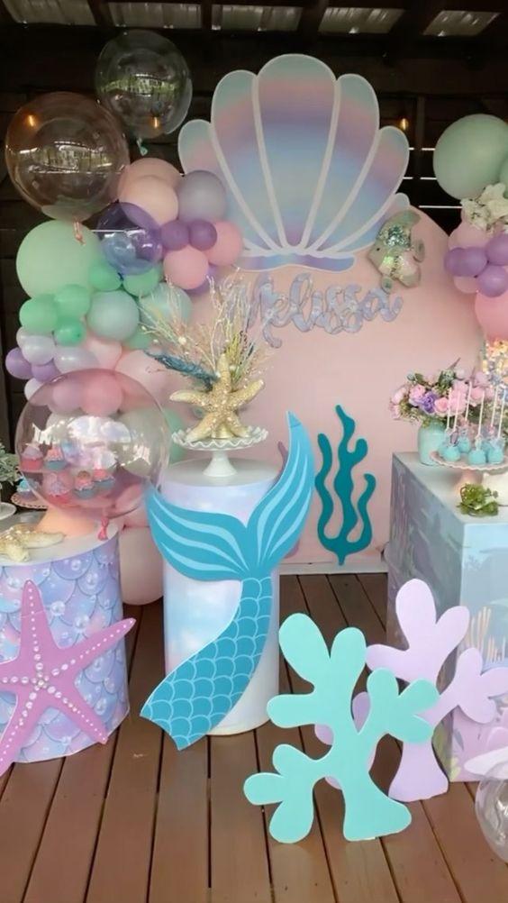 Decoración para fiesta de Sirena