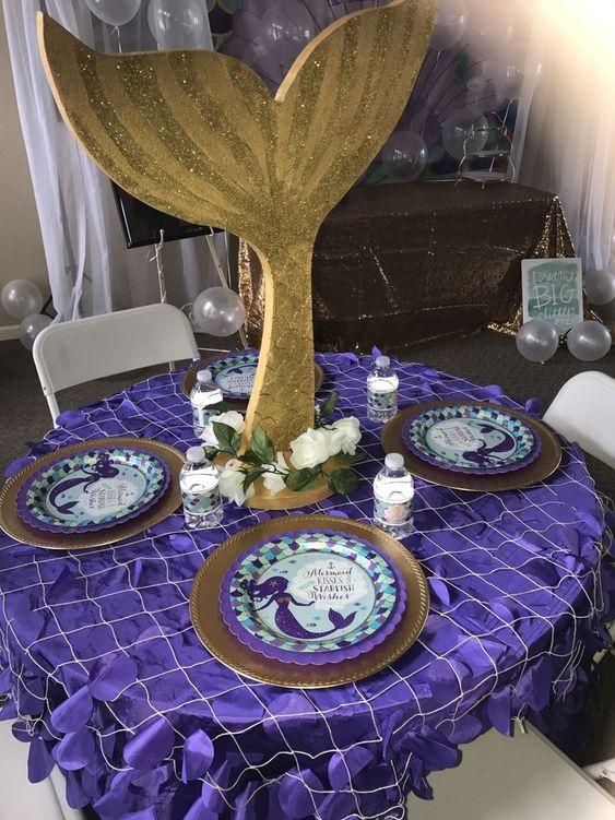 Centros de mesa para fiesta temática de sirena