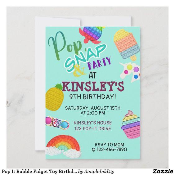 Invitaciones para fiesta de pop it