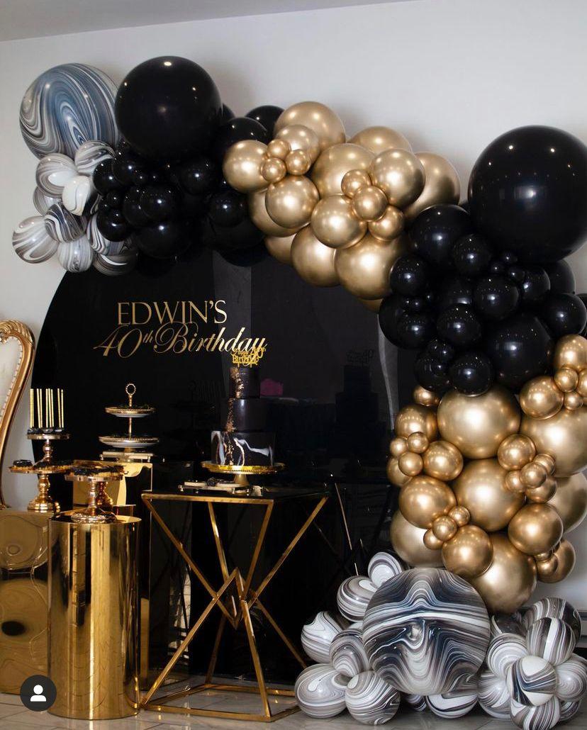 Ideas para una fiesta black and gold para hombre